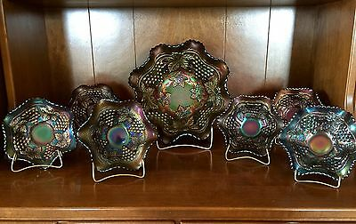 VINTAGE 10 Pieces NORTHWOOD PURPLE CARNIVAL GLASS - ELECTRIC