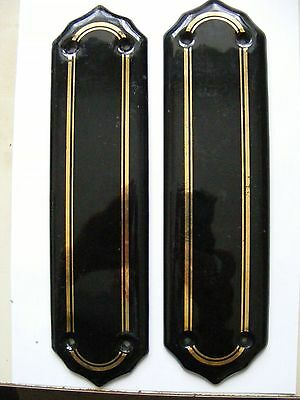 Black China Door Finger Plates Pair