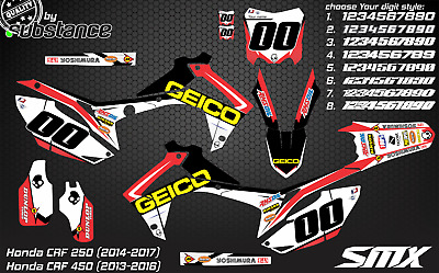 CRF250 CRF 450 2014 CRF graphics decals MX graphic kit 2013 Honda CRF 2015 GEICO