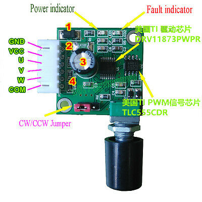DC 5-12V Hard Drive Brushless Motor Controller Speed Control Switch Drive Board