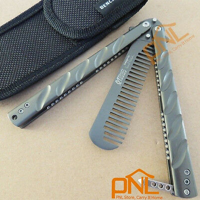 1PC Titanium Butterfly Knife Training Comb Knife Trainer Tool with Free Pouch