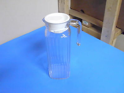 Vintage Glass Water Pitcher 9 1/2 Inches