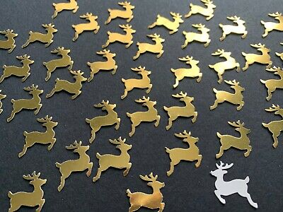 50 Gold shiny Mirror Reindeer Table Confetti CARD Christmas Table Decorations
