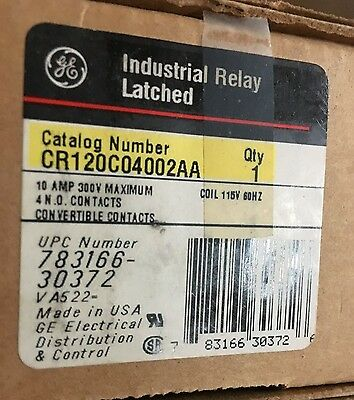 New In Box General Electric Industrial Relay Latched Cr120C04002Aa