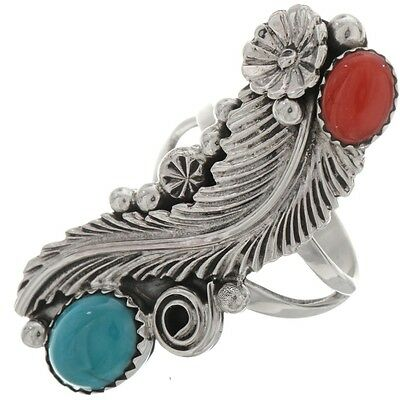 Navajo Turquoise Coral Ladies Silver Ring Sizes 5.5 - 10