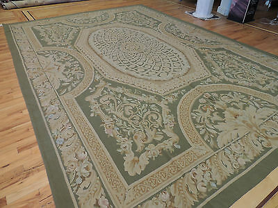 10x14 French Aubusson Style Area Rug Oriental Area Rug Green Beautiful !