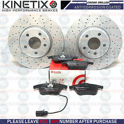 FOR AUDI A4 B8 FRONT MINTEX DRILLED BRAKE DISCS & BREMBO BRAKE PADS SET 314mm
