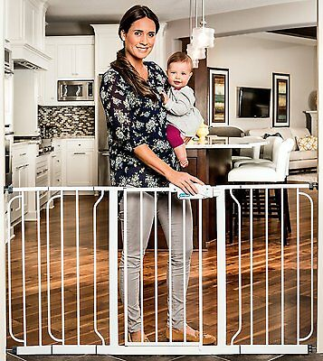 "Regalo Saftey Gate Metal Extra Wide Retractable Gate - 1158 - White - 29""-34"""