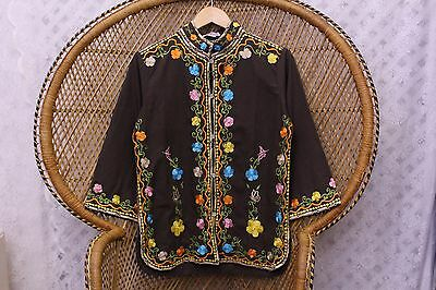 Vintage brown embroidered floral 70s cotton top penny lane lace blouse S 8 10