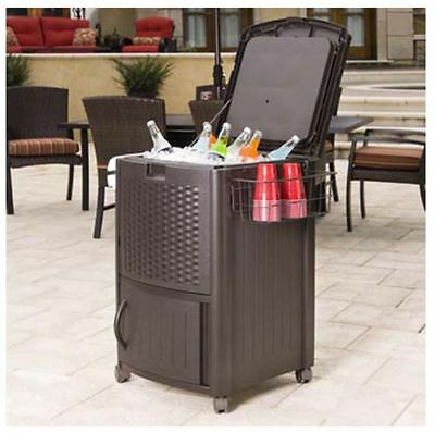 Outdoor Cooler Rolling Beverage Ice Chest Deck Patio Storage Cabinet Party Camp