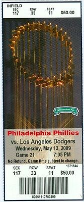 2009 Phillies vs Dodgers Ticket: James Loney, Jimmy Rollins and Raul Ibanez HRs