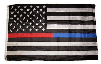 3x5 First Responder USA Police Fire Thin Blue Red Line Premium Flag 3'x5'