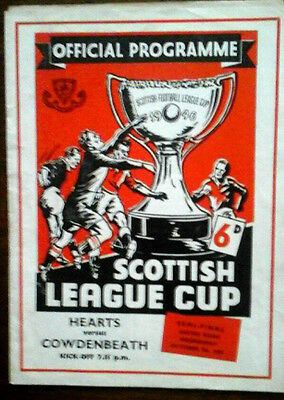 Hearts V Cowdenbeath 7/10/1959 Scottish League Cup Semi Final