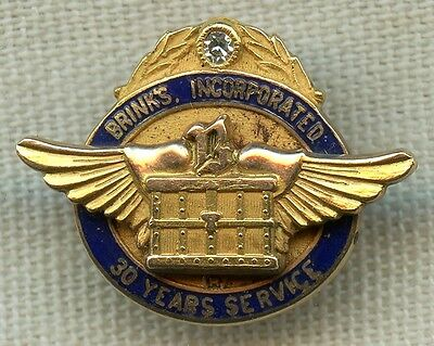 Scarce 1950's-1960's 10K Gold Brink's Armored Car Service 30 Year Service Pin