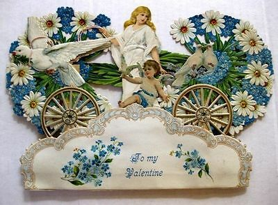 1927 Pop Out Valentine's Day Stand Up Display w/ Angel Doves Pulling Wagon