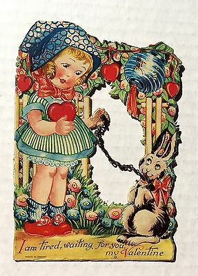 Antique 1930s Valentine's Day Card w/ Girl and Rabbit on Real Chain Leash