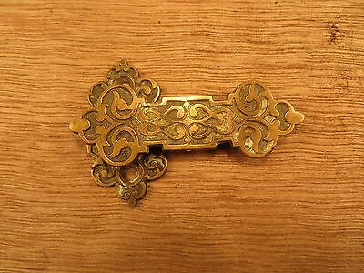 Antique Ornate Brass Cabinet Door Thumb Latch Old Restoation Hardware No Thumb