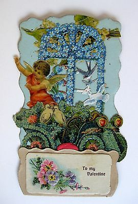 Vintage 1910s Pull Down  Valentine's Day Angel in Old Car w/ Flowers and Doves