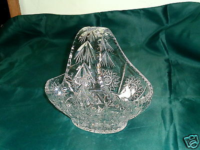 Vintage Depression Clear Cut Crystal Thick Glass Fruit Basket Bowl Centerpiece