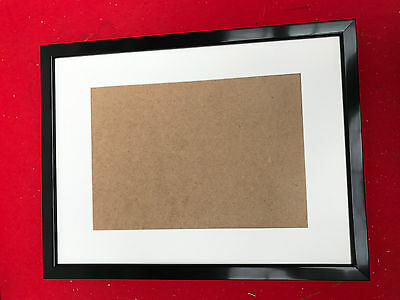 19mm BLACK  PHOTO/PICTURE FRAME WITH PICTURE MOUNT - VARIOUS SIZES AVAILABLE