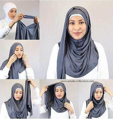 Slip On Instant Amira Style Cotton/Modal Jersey on-the-go Hijab Scarf 60x180cm