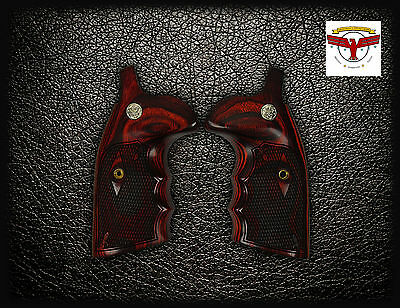 S&W Square Butt K & L Frame OXBLOOD GRIPS ~ FG Check + Med ~ Smith & Wesson ^