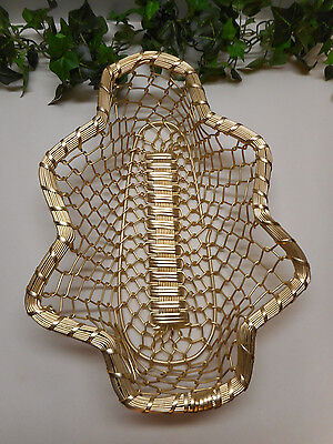 "Vintage Large Gold Christmas Tree Shaped Heavy Wire Basket 13.5"" Long"