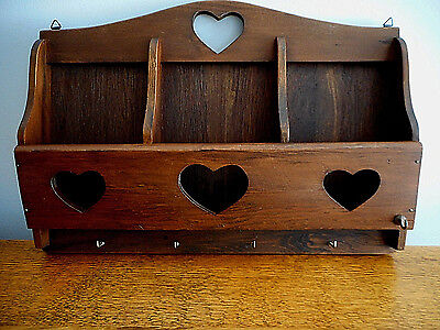 "Vintage Wood Wall Mount Mail Letter & Key Holder with Cut Out Hearts 15""x11"""