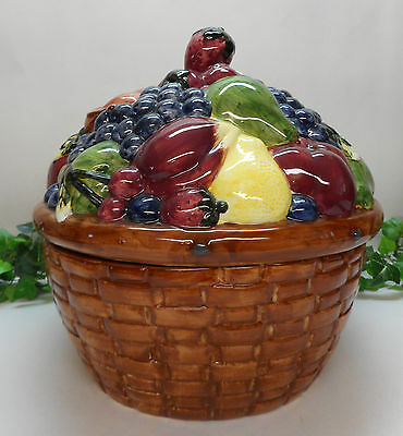 Block Country Orchard Gear Large Covered Cookie Jar Bowl Fruits 1985 Rare Nice
