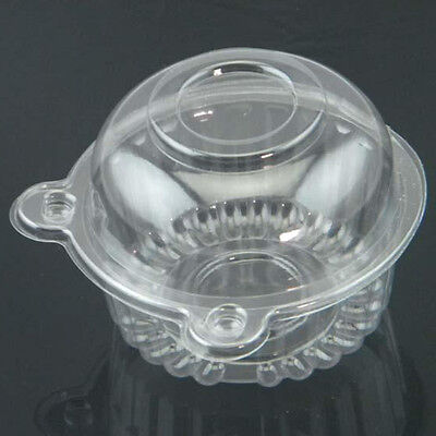 Transparent Plastic Domes Cup Suction Boxes 100 Pcs Cake Muffin Boxes