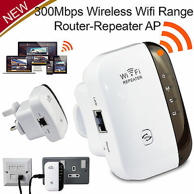 US Plug Wifi Repeater Wireless-N Range Signal Extender Booster 300Mbps 802.11