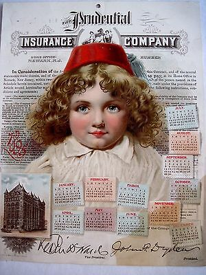 Great 1895  Prudential Insurance Co. Advertising Calender w/ Child's Pretty Face