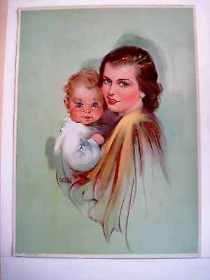 Sweet Print of Woman And Baby by Florence Kroger - Pastel Color of Green *