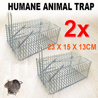 2x Humane Rat Trap Cage Live Animal Pest Rodent Mice Mouse Control New Brand