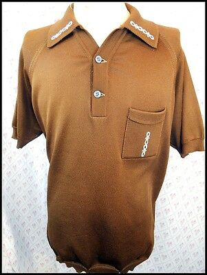 Vintage 1970s Brown Poly Acetate Commander Mod Style Polo Shirt XL 110-115cm