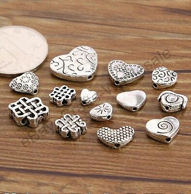 20/100PCS Tibetan Silver Heart Loose Spacer Bead Charm Jewelry Finding