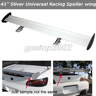 Car Truck Universal Aluminum Adjustable Rear GT Racing Wing Spoiler Silver