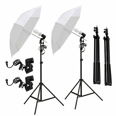 2x135W Photo Studio Umbrella Light Stand Bulb Continuous Lighting Lamp Kit Set