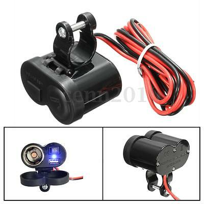 12V Chargeur USB MP3 Allume-Cigare Socket Douille Guidon Switch Étanche Moto