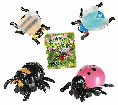 Pull Back Toys Insects Spider, Bee, Ladybird, Fly Stocking Filler Gift For Kids