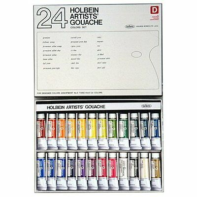 Holbein Artists' Gouache Designer's 24 Color Set G722 15ml (No.5) Japan new.