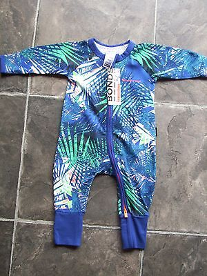 BNWT Baby Boy's Bonds Blue & Green Zip Wondersuit/Coverall Size 000