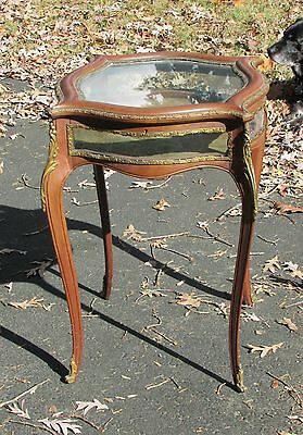 Antique French Style Bronze Mounted Display Case Vitrine Curio Cabinet