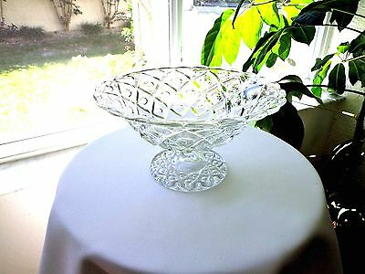 Sandwich Museum Viking Diamond Thumbprint Clear Compote c1966 - 1984 Signed