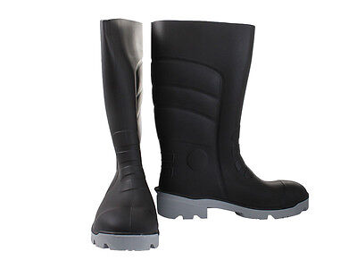 Bata Worklite Safety Gumboots Black Grey UK8