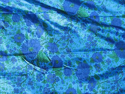 Vintage Thai Silk Hand Woven in Thailand fabric 5 yards blue green Beauty!