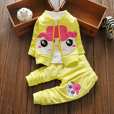 NEW! Girls cute 3 pcs clothing set outfit tracksuit(top+pants+jacket) 3-4 years