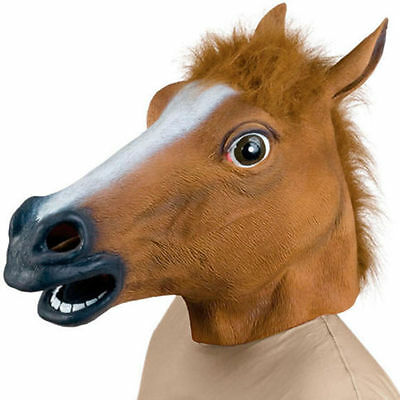 Horse Head Mask Latex Animal Costume Prop Gangnam Style Toys Party Halloween A@