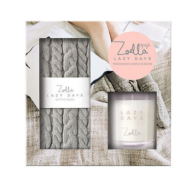 Zoella Branded Lazy Days Socks Candle Gift Set Ladies Christmas Present New