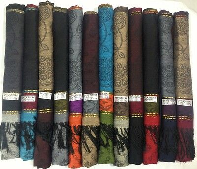 New Women's Lot of 12 NEW Soft 100% Pashmina Shawl Scarf Stole Wrap Fashion